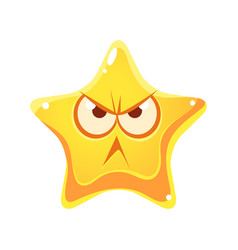 wrathful emotional face of yellow star cartoon vector image vector image