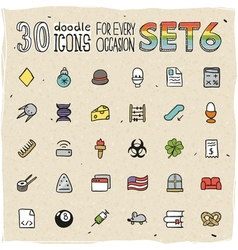 30 Colorful Doodle Icons Set 6 vector