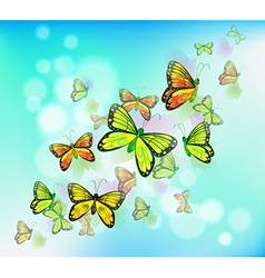 A blue colored stationery with butterflies vector image
