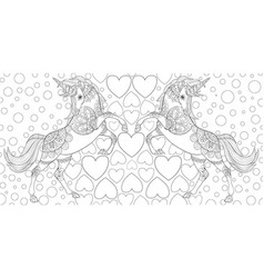 Adult coloring bokpage a pair of unicorns vector