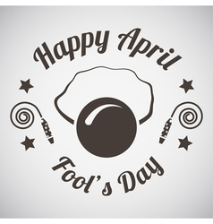 April fools day emblem vector image