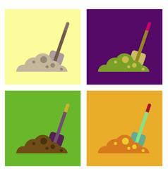 Assembly flat icons halloween plot shovel vector