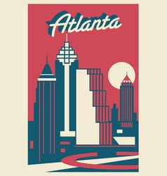 Atlanta georgia postcard vector