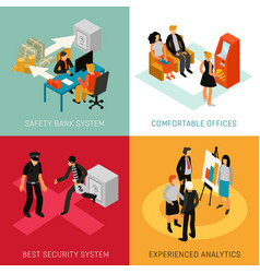 bank people isometric concept vector image