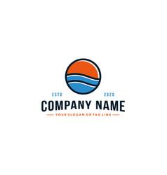 Beach and sun logo design vector