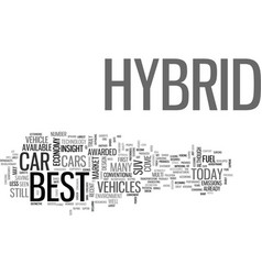 Best hybrid car text word cloud concept vector