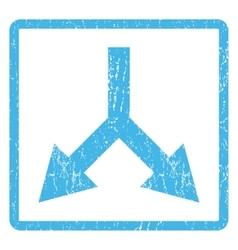 Bifurcation Arrow Down Icon Rubber Stamp vector