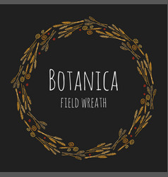 Botanica field - dark stylized colorful wreath vector