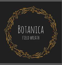 Botanica field - dark stylized colorful wreath vector