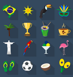 brazil set of cartoon flat icons vector image