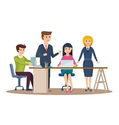 business characters working in office vector image