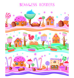 Candy land flat seamless border vector