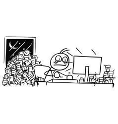 Cartoon man working on computer overnight and vector