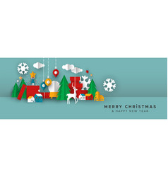 Christmas and new year banner papercut toy city vector
