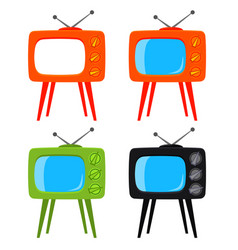 Colorful cartoon retro tv on high stand set vector