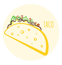 Colorful isolated outline taco symbol vector