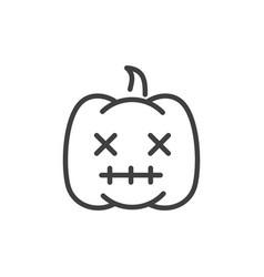 Creepy pumpkin trick or treat happy halloween line vector