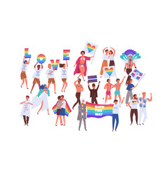 crowd people on pride parade isolated on white vector image