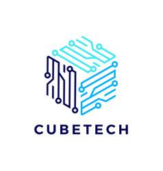 Cube tech technology electric circuit logo icon vector