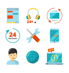 customer service icon support 24h business help vector image