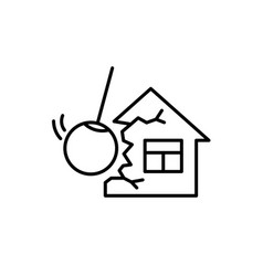Demolishing house construction with wrecking ball vector