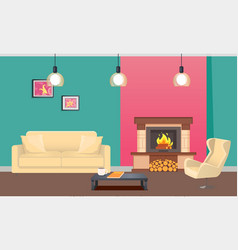 designer room with fireplace and furniture vector image