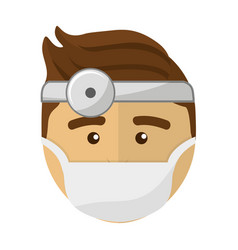 Doctor face with medical mask and reflector vector