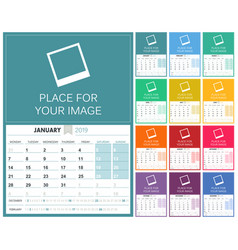 english calendar 2019 vector image