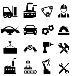 Factory manufacturing and industrial icons vector image