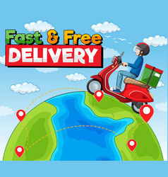 fast and free delivery logo with bike man vector image