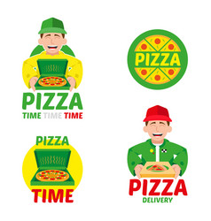 fast pizza delivery set vector image