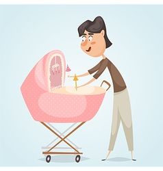 Father with baby carriage vector