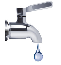 faucet and water drop isolated 3d vector image vector image