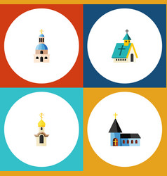 Flat icon church set of church architecture vector