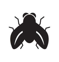 Flat icon in black and white style fly insect vector