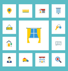 Flat icons trinket house broker and other vector