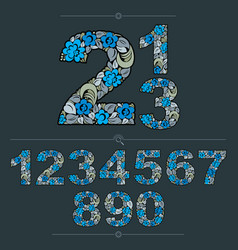 floral numerals hand-drawn numbers decorated with vector image