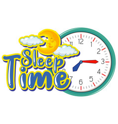 Font design for words sleep time with clock on vector