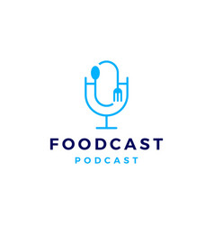 Food fork spoon podcast logo icon for vector