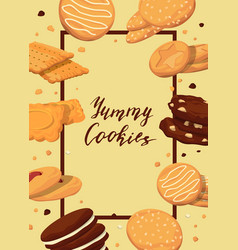 frame with cartoon cookies vector image