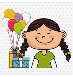 girl balloons gifts party vector image