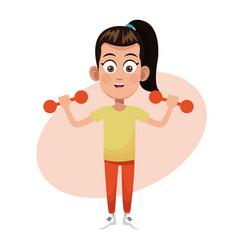 Girl weight sport practice vector