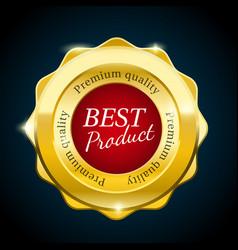 Gold premium sale badge bright red design element vector