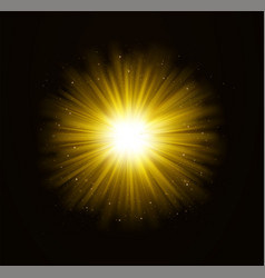 golden bright shining light effect with stars vector image