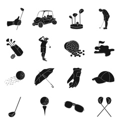 Golf club set icons in black style Big collection vector image