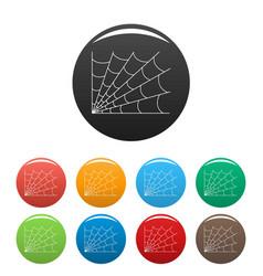 Gothic spiderweb icons set color vector