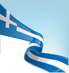 Greek flag on sky background vector image vector image