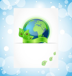 Green earth with leaves wrapped ribbon vector image