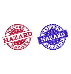 Grunge scratched hazard stamp seals vector