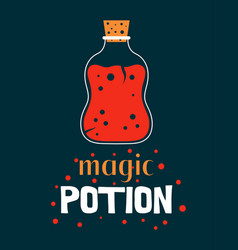halloween with magic potion and lettering vector image